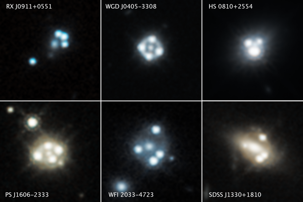 "bright quasar ""dots"" against black backgrounds of space"
