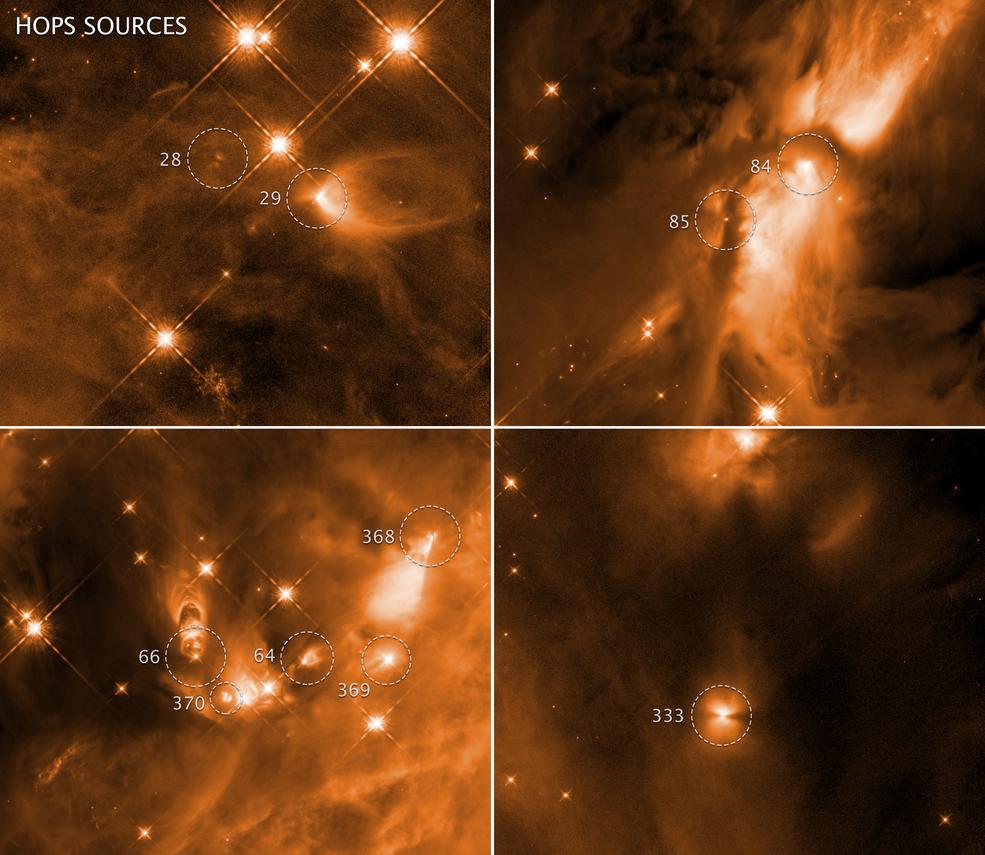 Hubble muestra que en el proceso de nacimiento de las estrellas, las salidas de gas circundante, pueden no detener su crecimiento