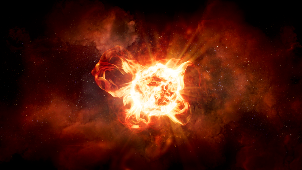 This artist's impression of hypergiant star VY Canis Majoris shows the star's vast convection cells and violent ejections.