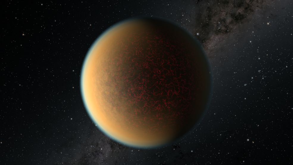 This is an artist's impression of the Earth-sized, rocky exoplanet GJ 1132b, located 41 light-years away around a red dwarf star