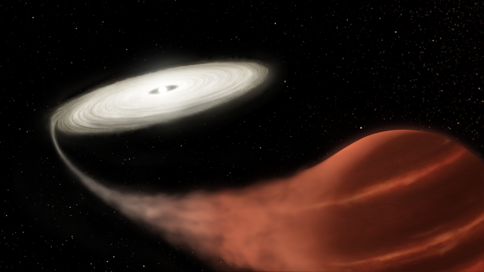 illustration of a white dwarf with flattened accretion disk siphoning a stream of matter off a brown dwarf