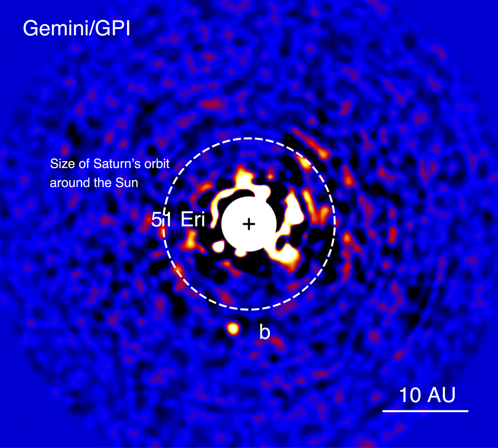 This discovery image of a Jupiter-sized extrasolar planet orbiting the nearby star 51 Eridani was taken in near-infrared light in 2014 by the Gemini Planet Imager.