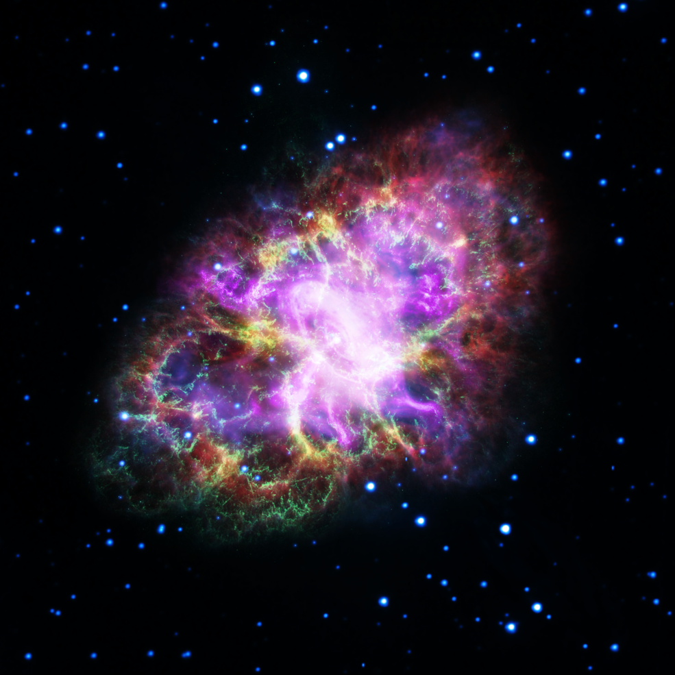 A detailed image of the Crab Nebula.