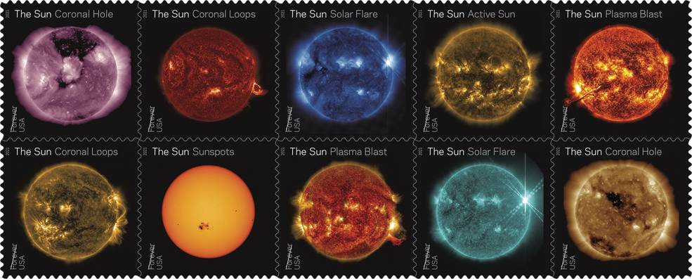 Sun Science Stamps Highlight a Decade of Sun-Watching from Space Sun_2