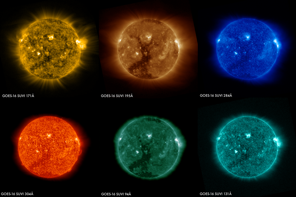 panel of six colored images of the sun