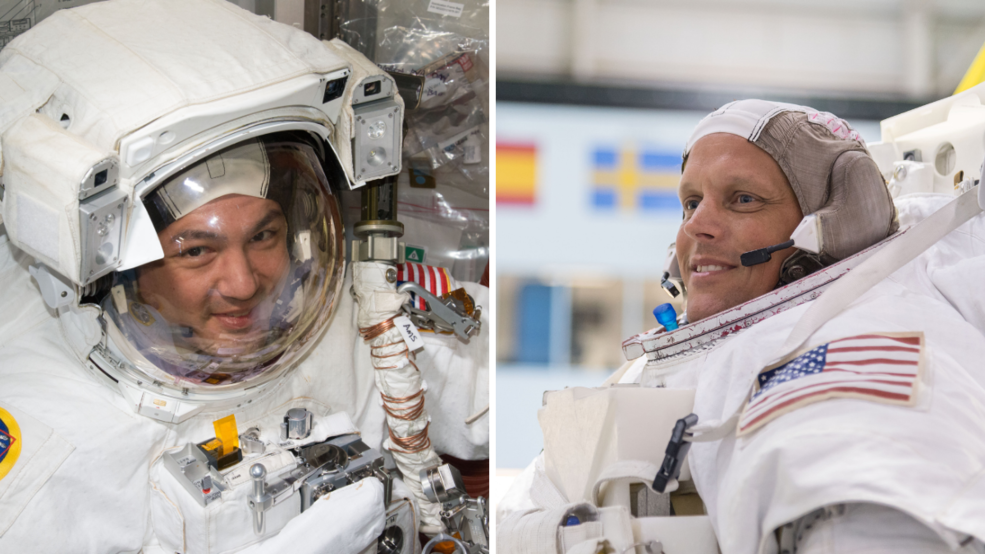 Pictured from left are NASA astronauts Kjell Lindgren and Bob Hines.