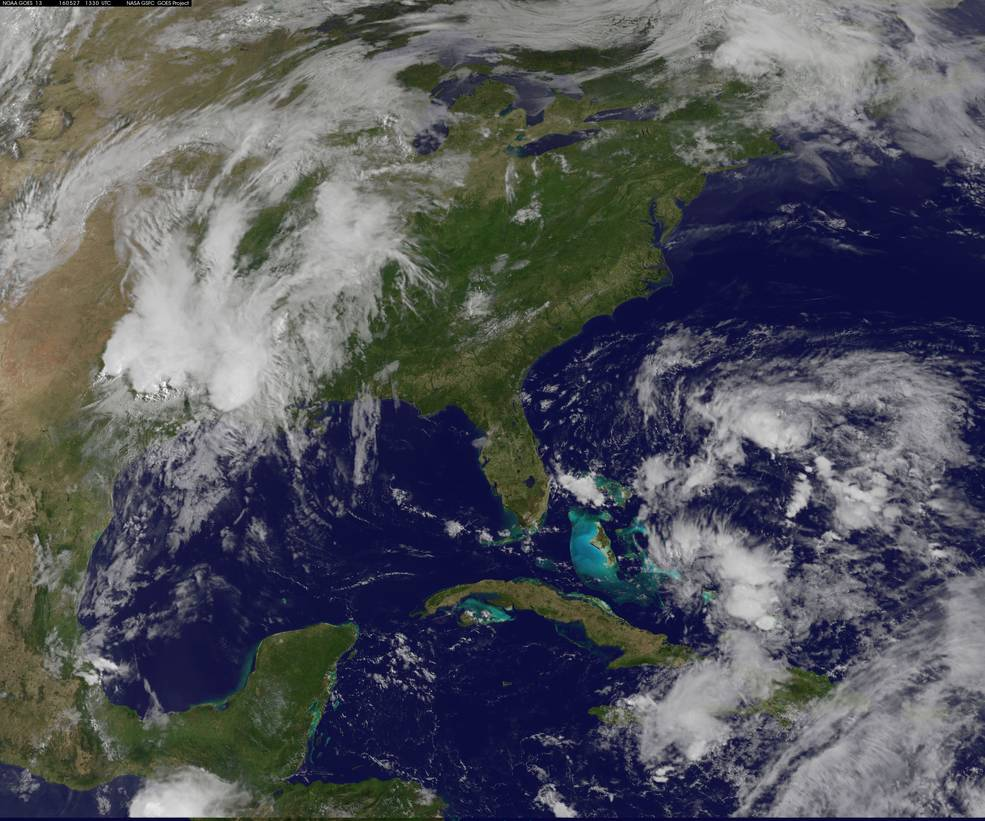 NOAA's GOES-East satellite captured this daytime view of developing System 91L.