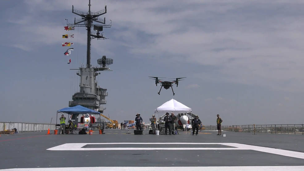 The retired USS Lexington aircraft carrier was one of the sites NASA researchers demonstrated UAS.