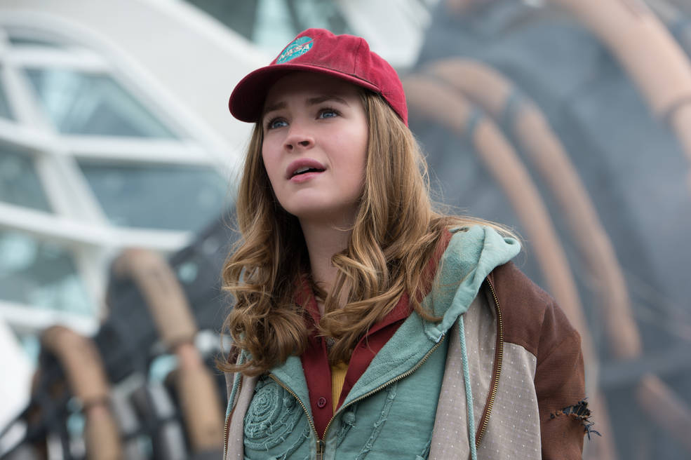 Main character Casey Newton marvels at the wonders of Tomorrowland as portrayed in the film.