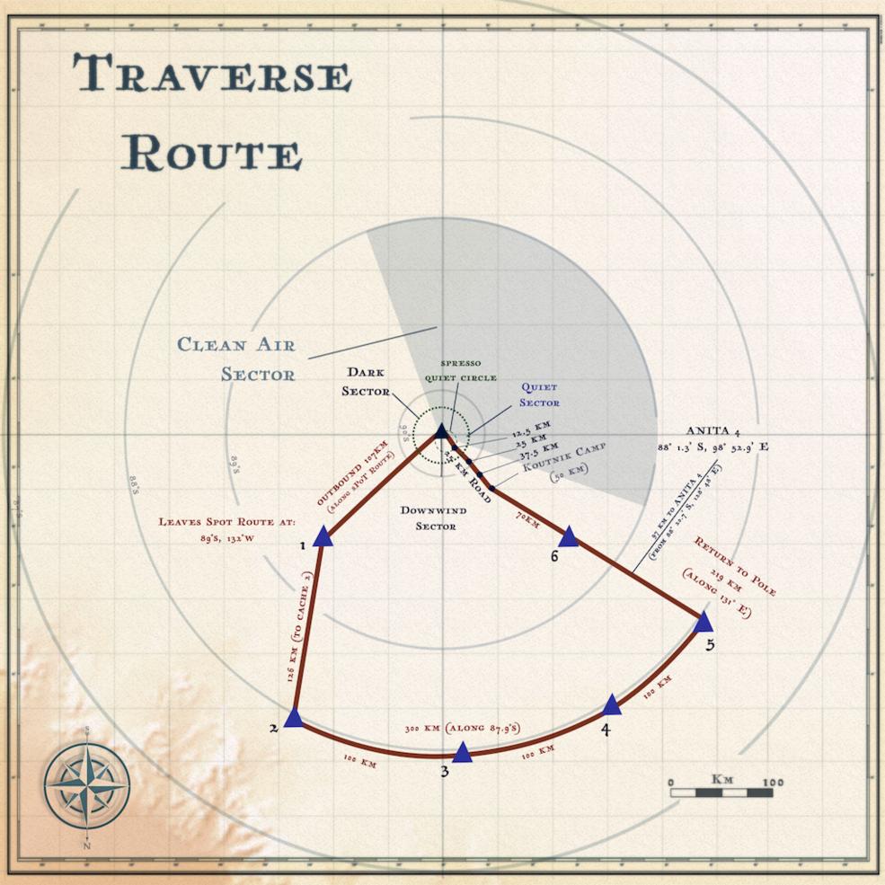 Un mapa de la ruta