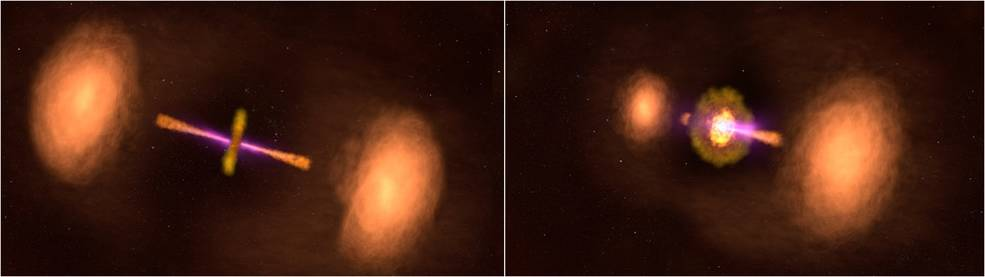 Profile and perspective views of active galaxy TXS 0128+554