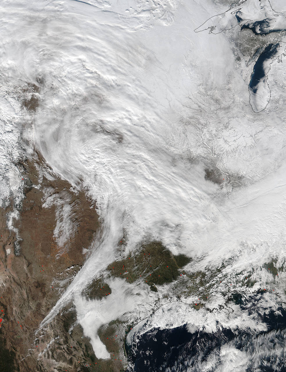 Winter storm moving through the central US