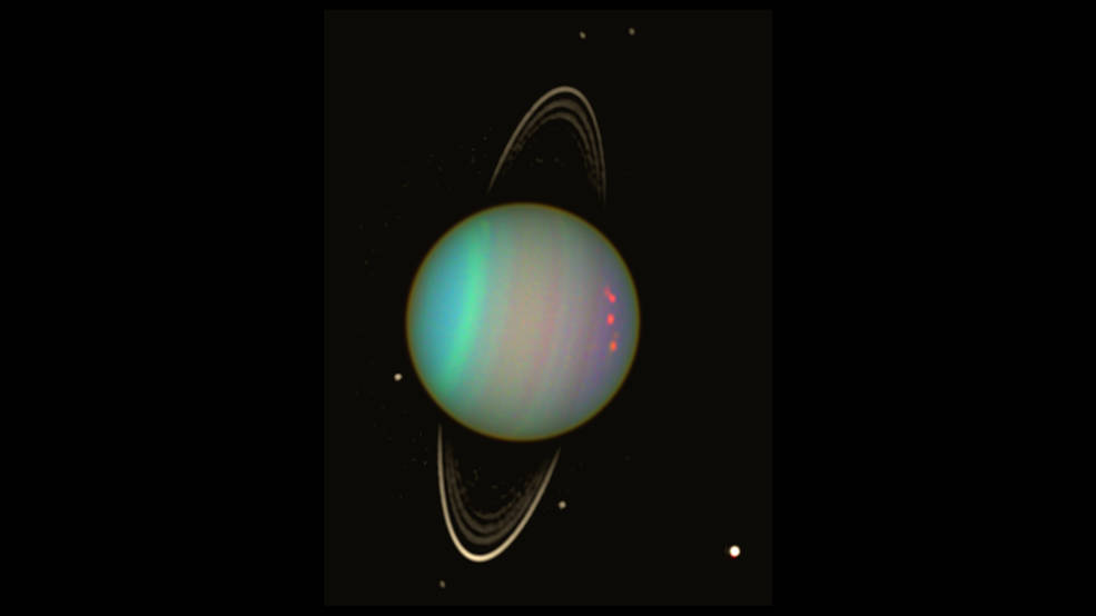 Uranus is seen in this false-color view from NASA's Hubble Space Telescope