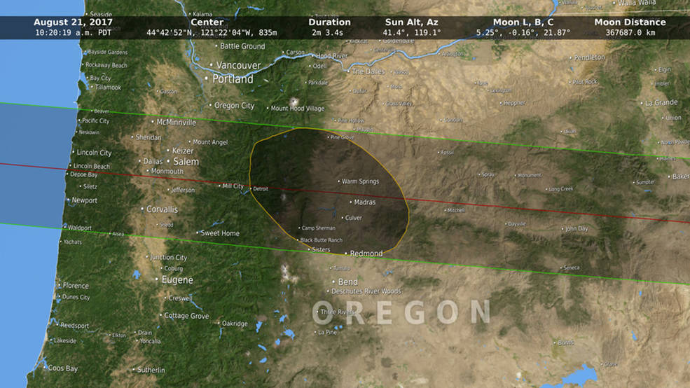 Map of Pacific Northwest with eclilpse detail