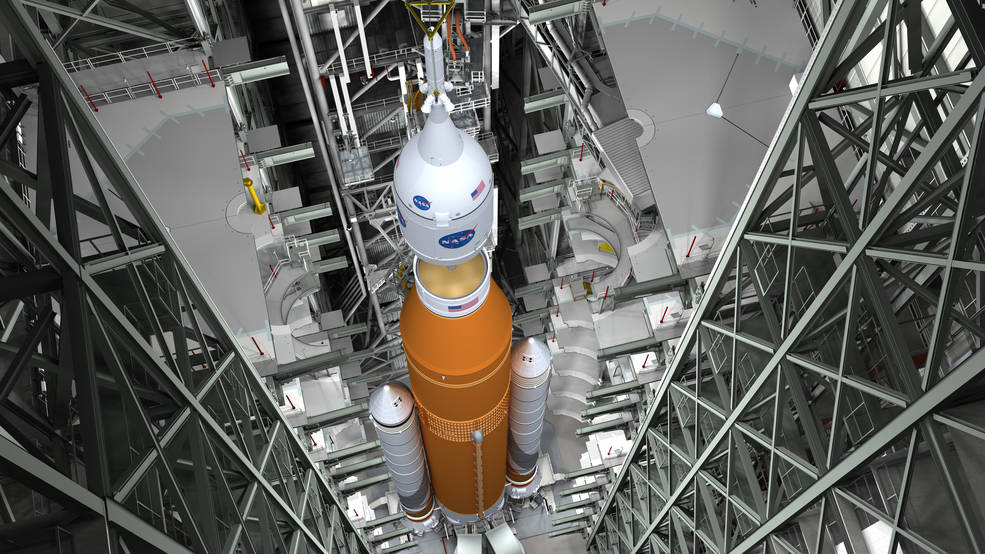 Artist concept of NASA's Space Launch System (SLS) in VAB