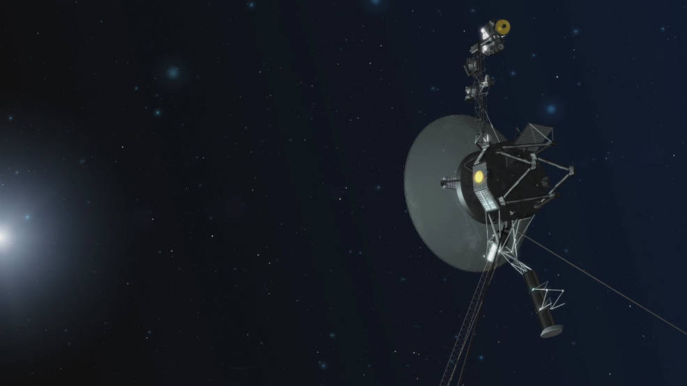 An artist concept depicting one of the twin Voyager spacecraft.