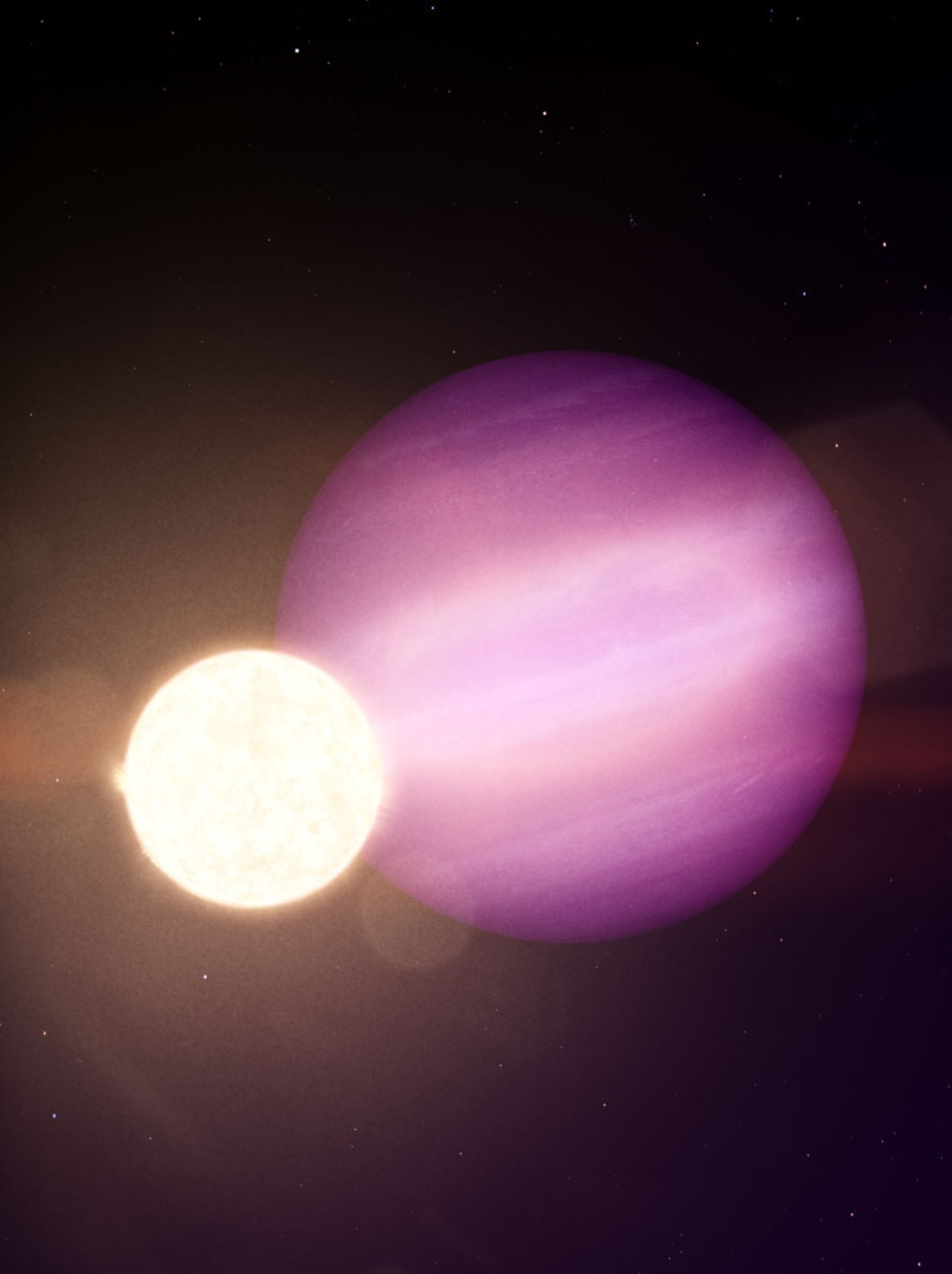 In this illustration, WD 1856 b, a potential Jupiter-size planet, orbits its much smaller host star, a dim white dwarf
