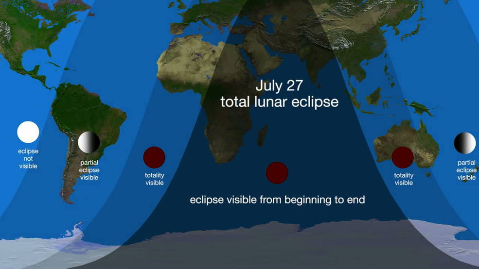 Graphic of the visibility of the July 27, 2018, lunar eclipse.