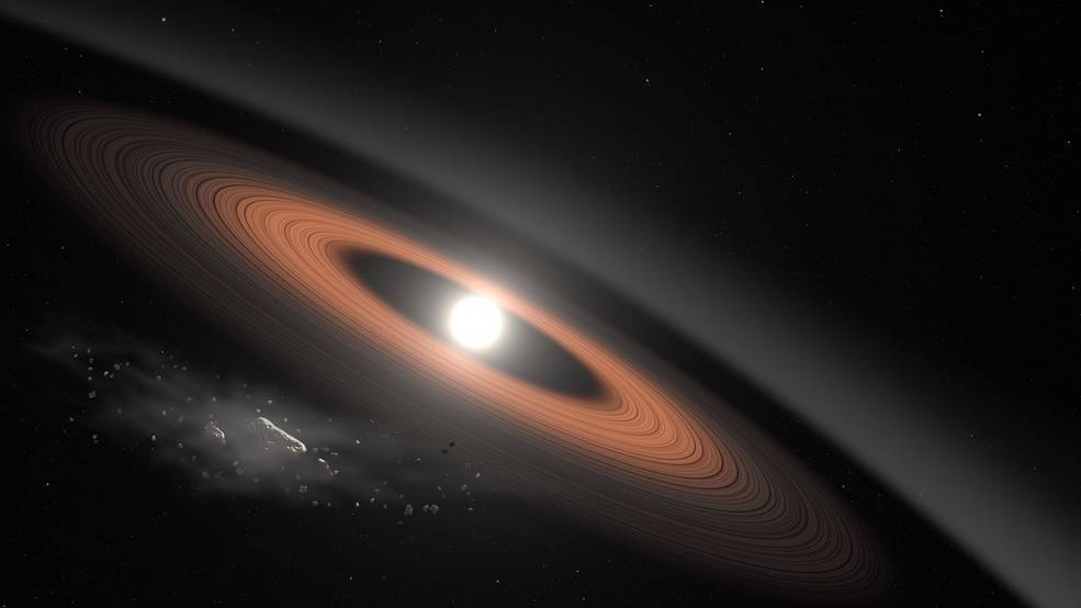 Illustration of a white dwarf star surrounded by dust rings and an asteroid (lower left) supplying the dust ring