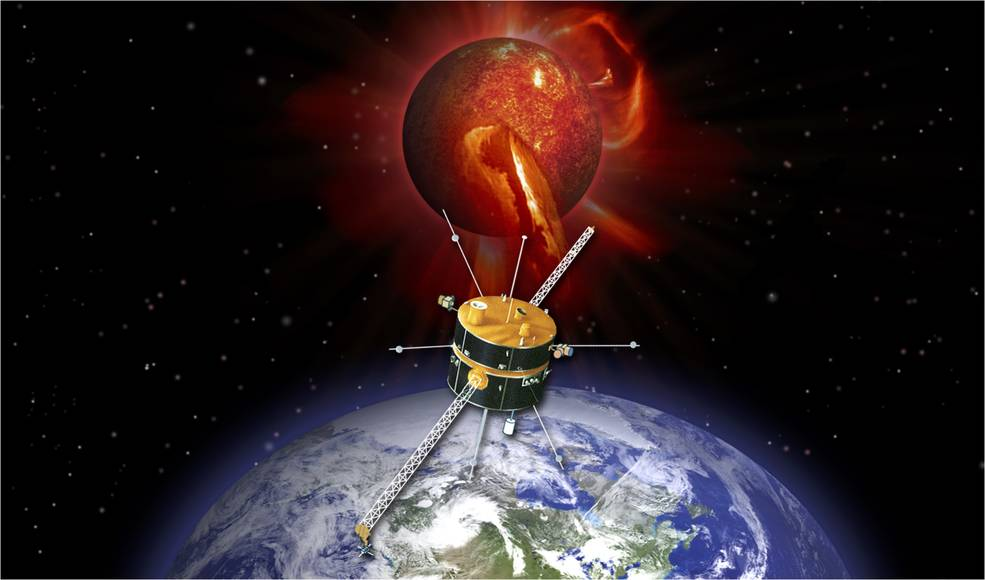 An Earth-orbiting spacecraft faces the Sun.