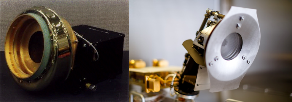 Two images of cup-like instruments are side by side. On the right, the more modern instrument is much sleeker.