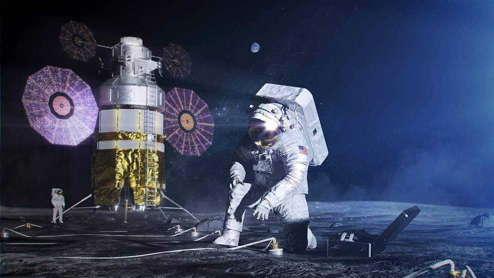 Artist concept of an astronaut in the xEMU space suit setting up a science experiment on the lunar surface.