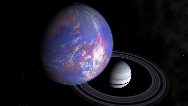 Artist's impression of a hypothetical Earth-like moon and Saturn-like exoplanet.