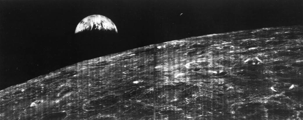 The first view of the Earth from the Moon, taken by NASA's Lunar Orbiter 1 153534main_image_feature_623_ys_full.jpg?itok=xRbdJz1J
