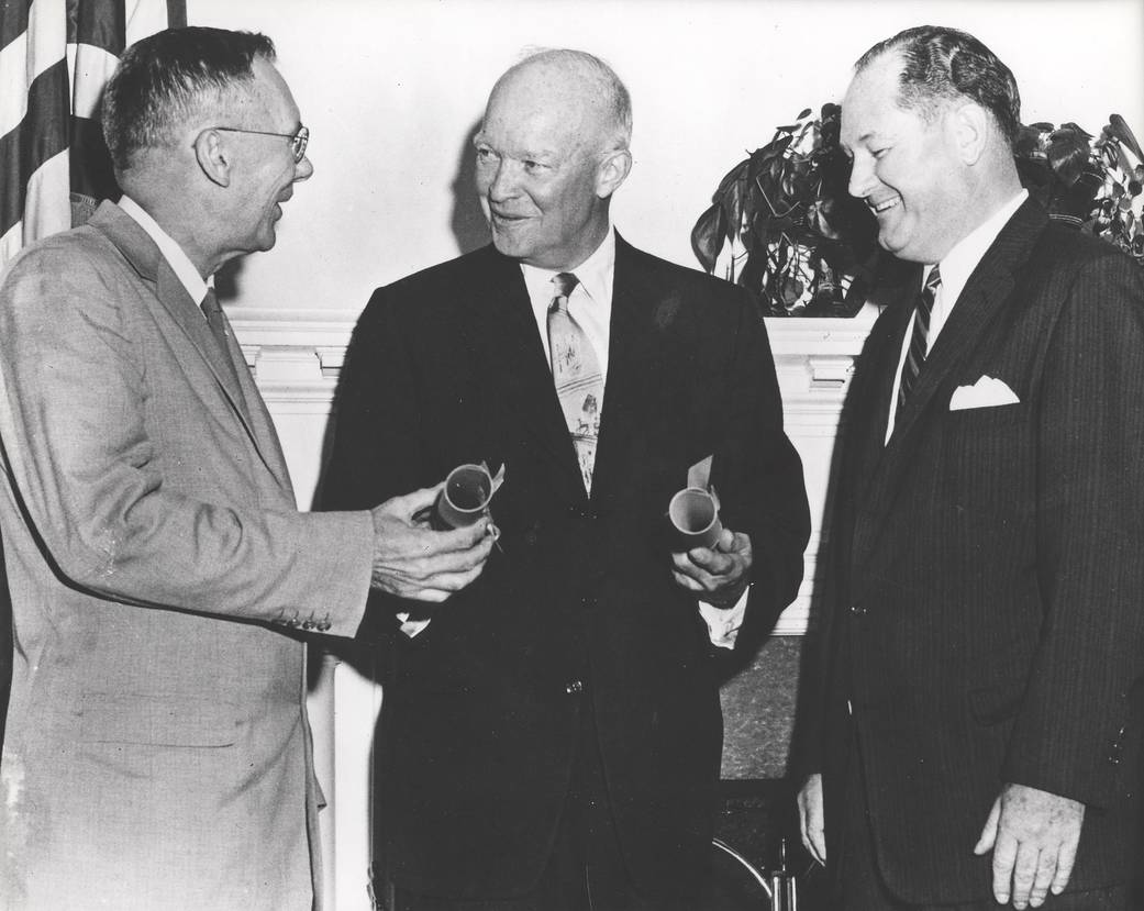 President Eisenhower Presents NASA Commissions