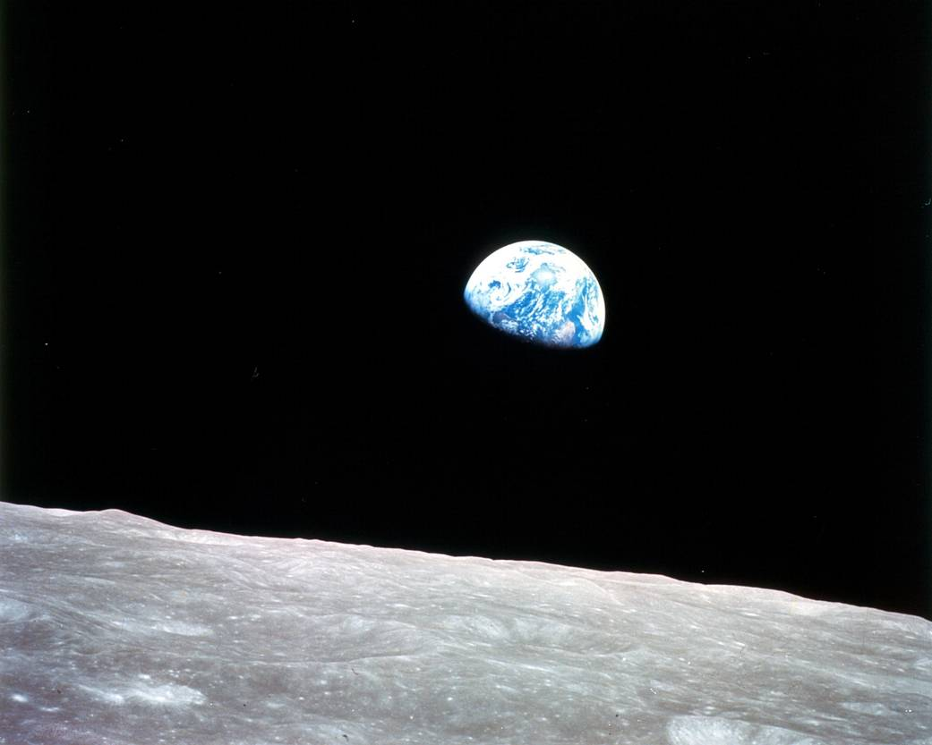 Earthrise, from the Moon, taken from Apollo 8 (NASA)