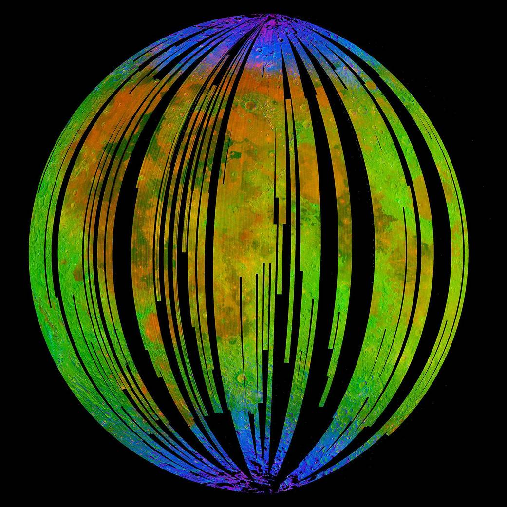 Composite image of sections of Earth's moon in brilliant rainbow colors with blues near poles and yellow and orange near center