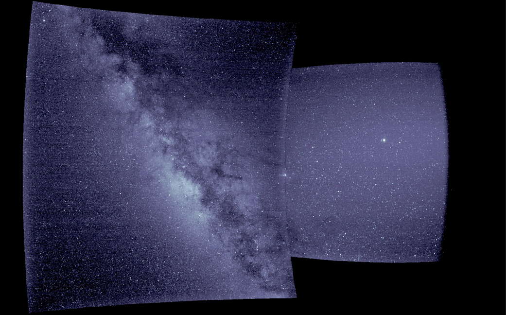 Wide view of starry sky from science instrument aboard solar probe