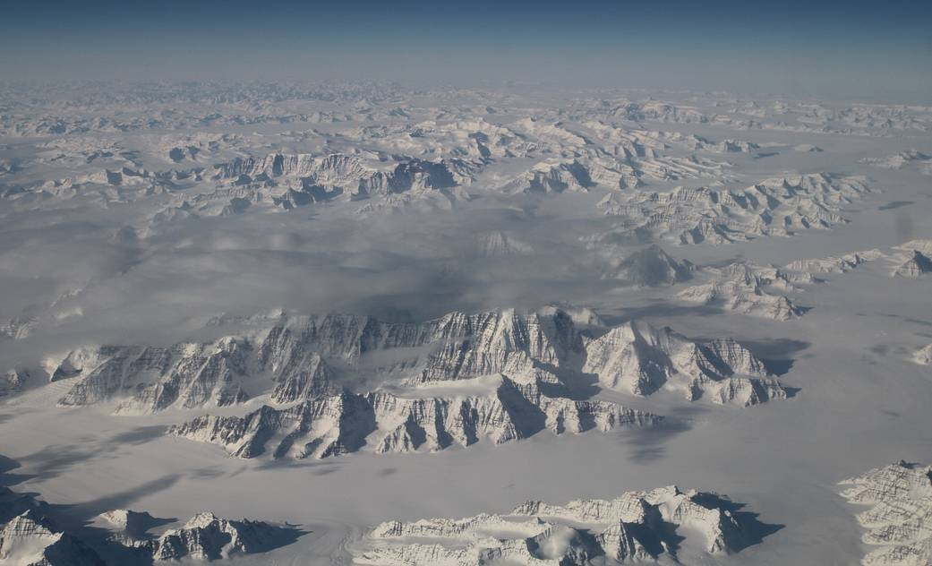 Ice sheet of Greenland photographed from aircraft