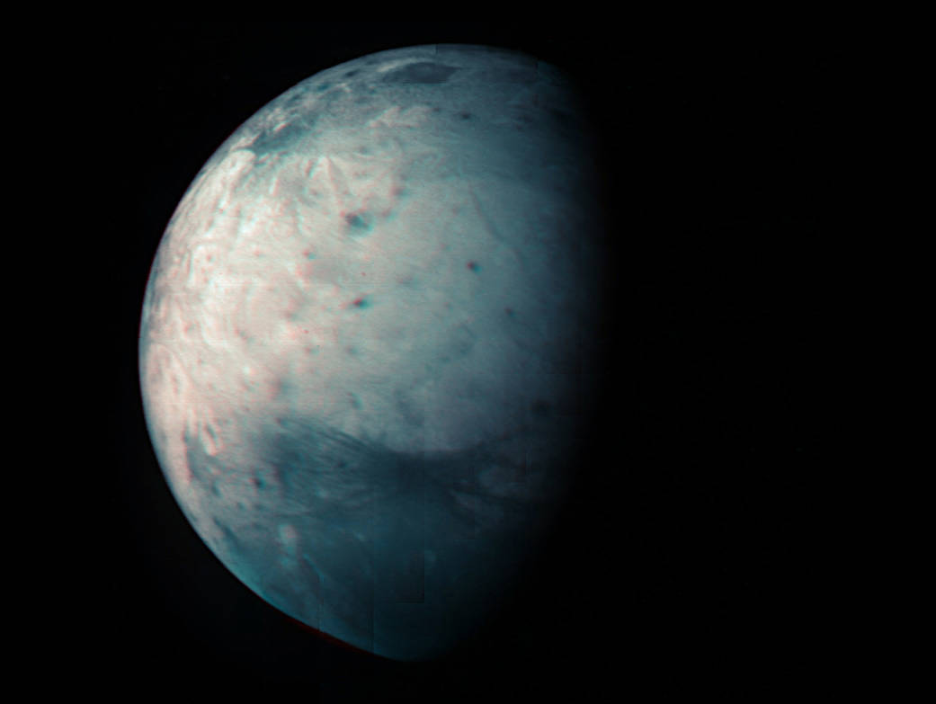 This infrared view of Jupiter's icy moon Ganymede was obtained by the Jovian Infrared Auroral Mapper (JIRAM) instrument aboard NASA's Juno spacecraft during its July 20th, 2021, flyby.