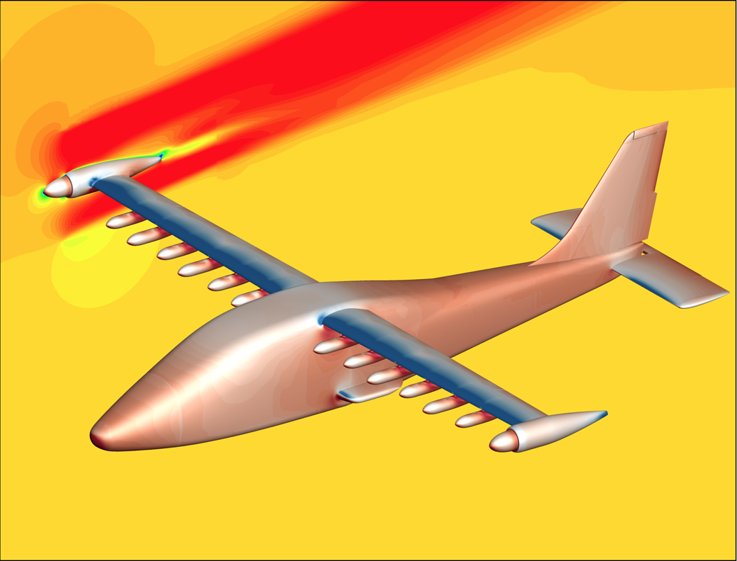 Image from supercomputing simulation of NASA's X-57 electric aircraft in flight