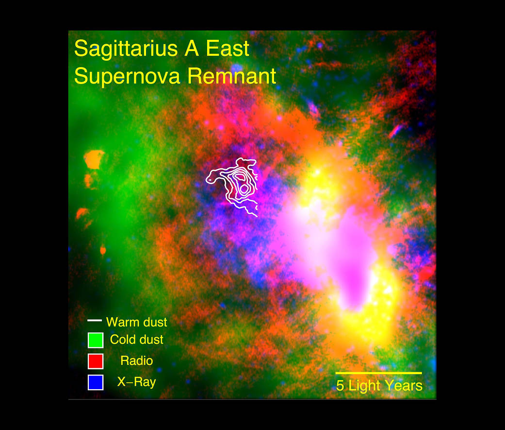 Warm dust (white) surviving inside a supernova remnant.