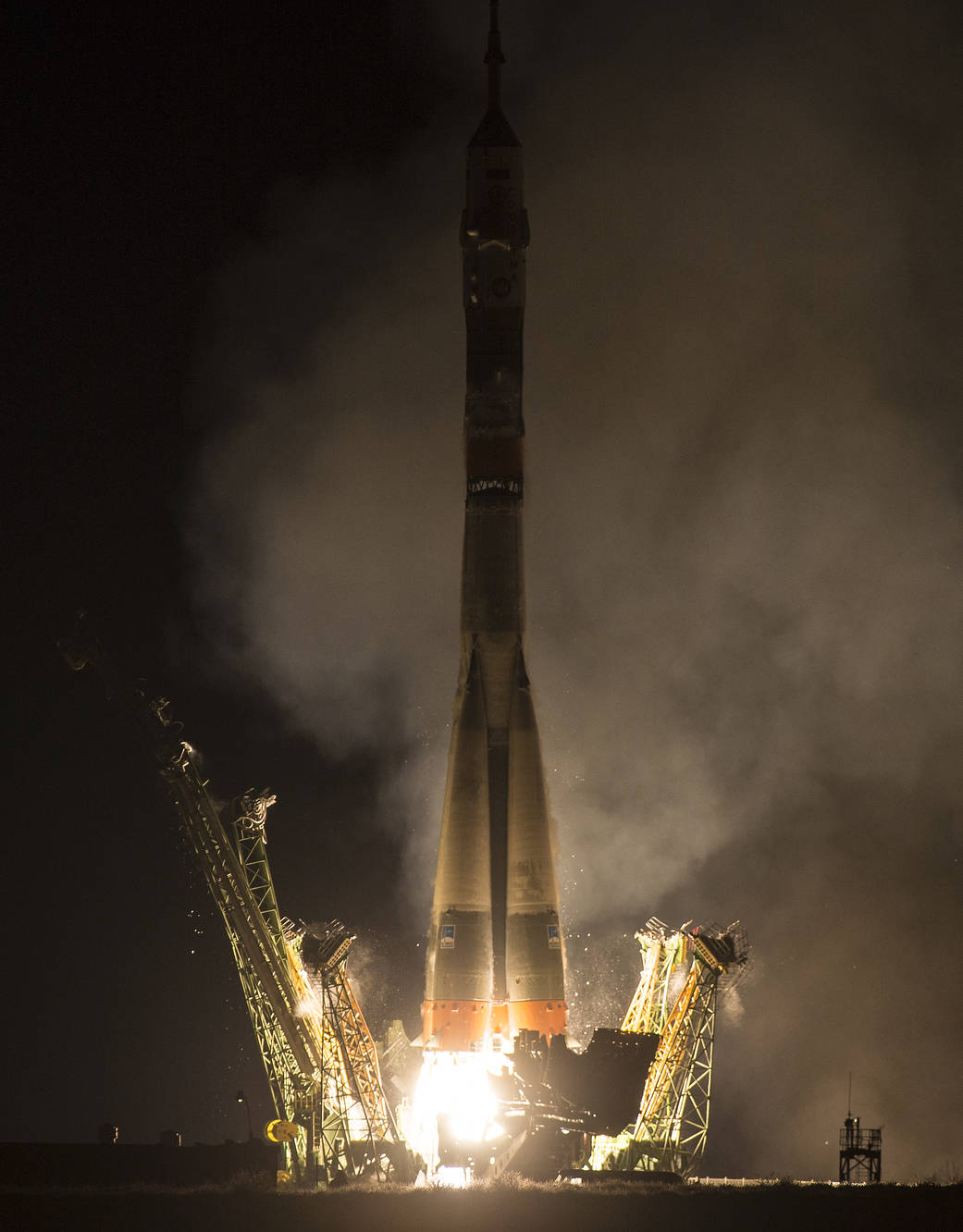 Soyuz TMA-20M rocket launches from the Baikonur Cosmodrome in Kazakhstan on Saturday, March 19, 2016
