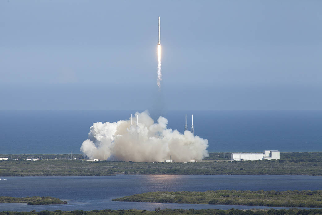 Liftoff of SpaceX rocket with spacecraft