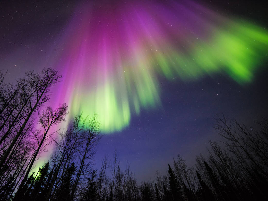 Aurora images captured at midnight on April 10, 2015, in Delta Junction, Alaska.