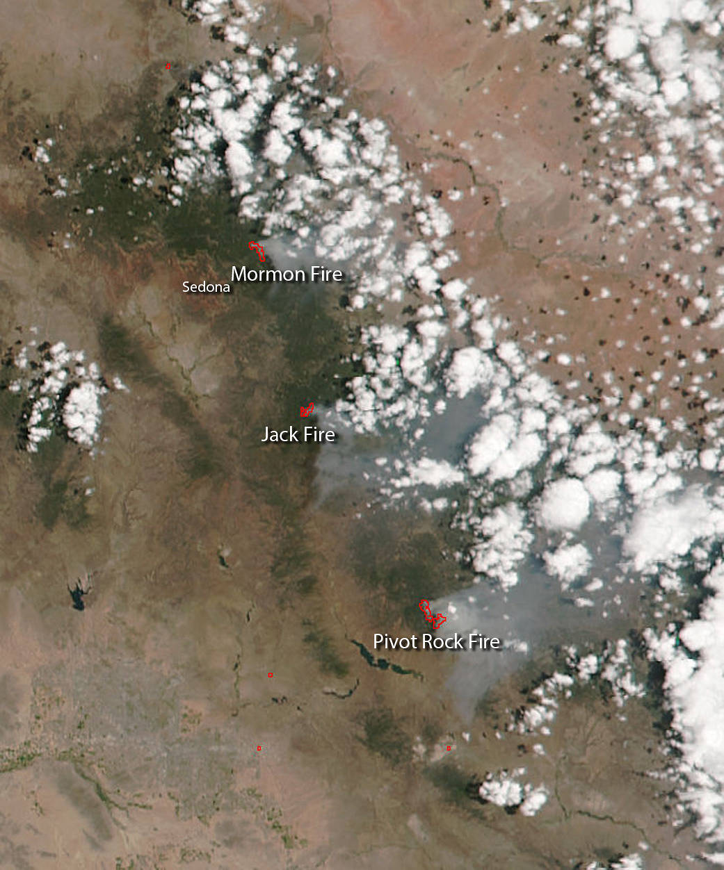 Suomi NPP image of Arizona wildfires
