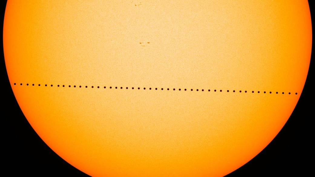 composite image of 2016 Mercury transit from SDO