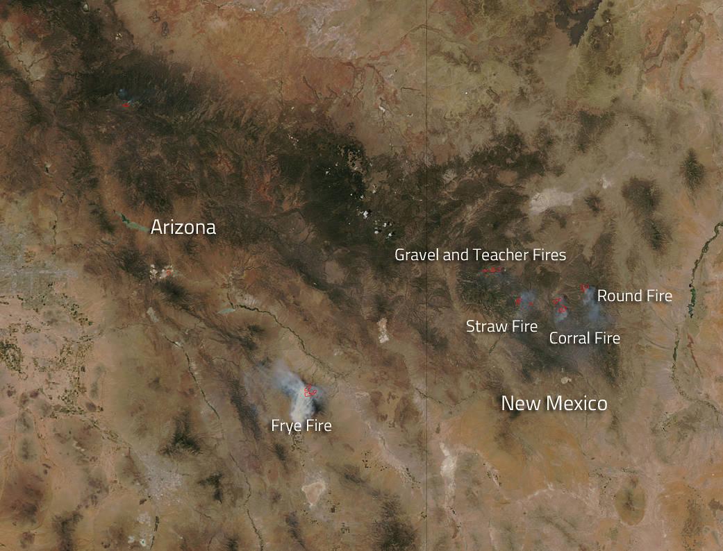 fires in southwestern U.S.