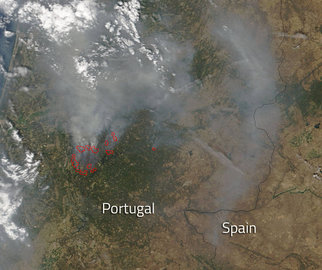 Image result for Thus the fire of Portugal from space