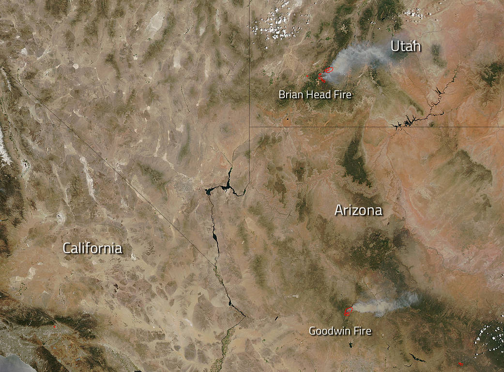 Aqua image of fires in Utah and Arizona