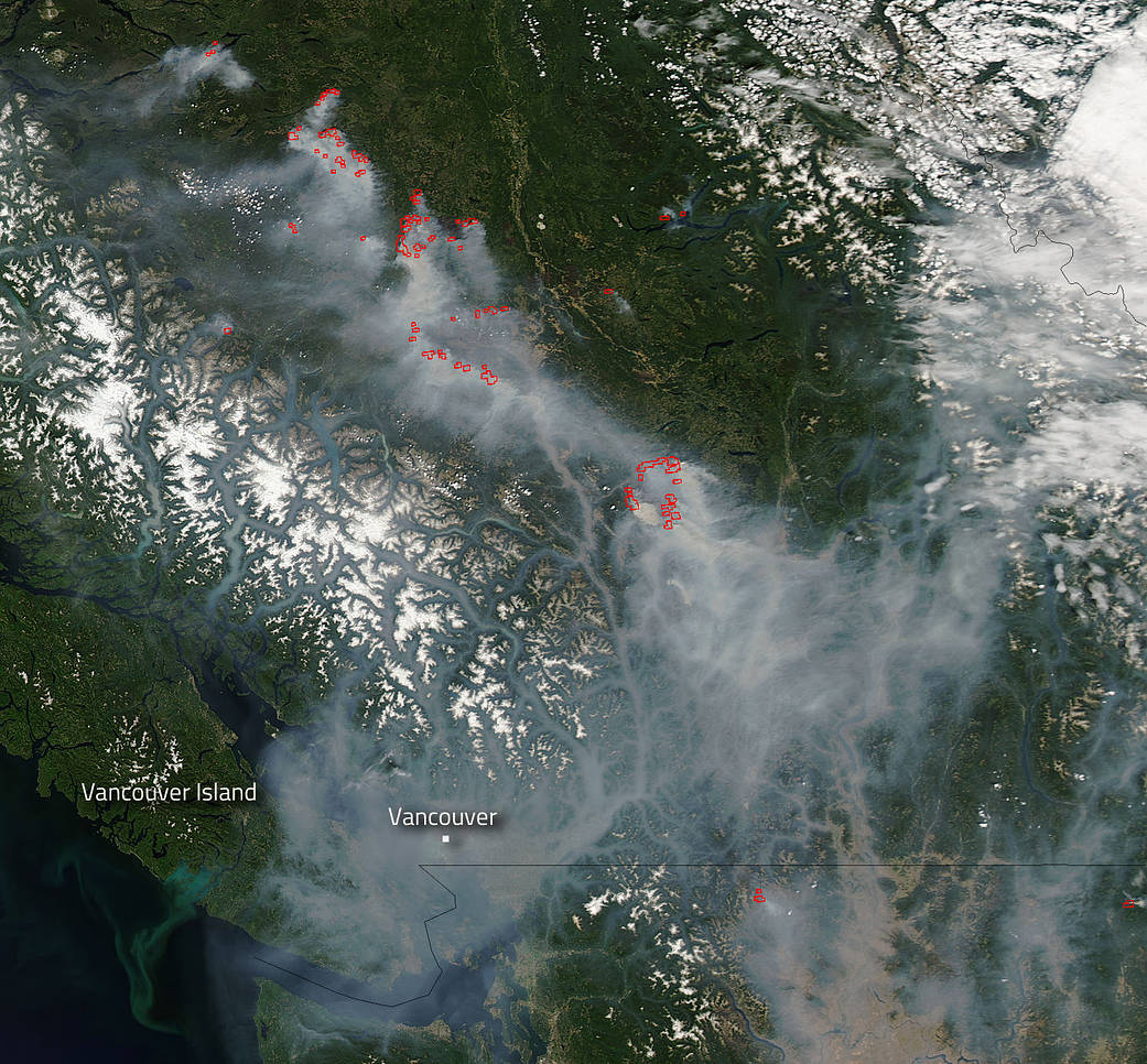 Aqua image of smoke and fires in British Columbia