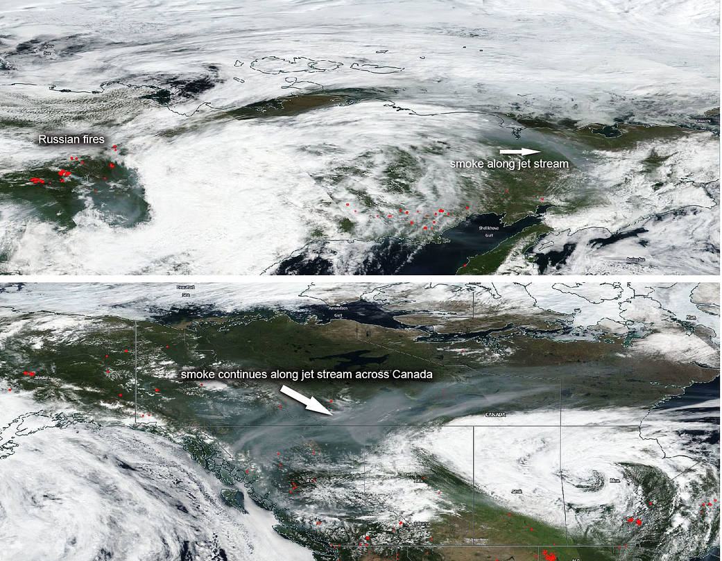 Smoke from Russian fires can be seen moving into Canada