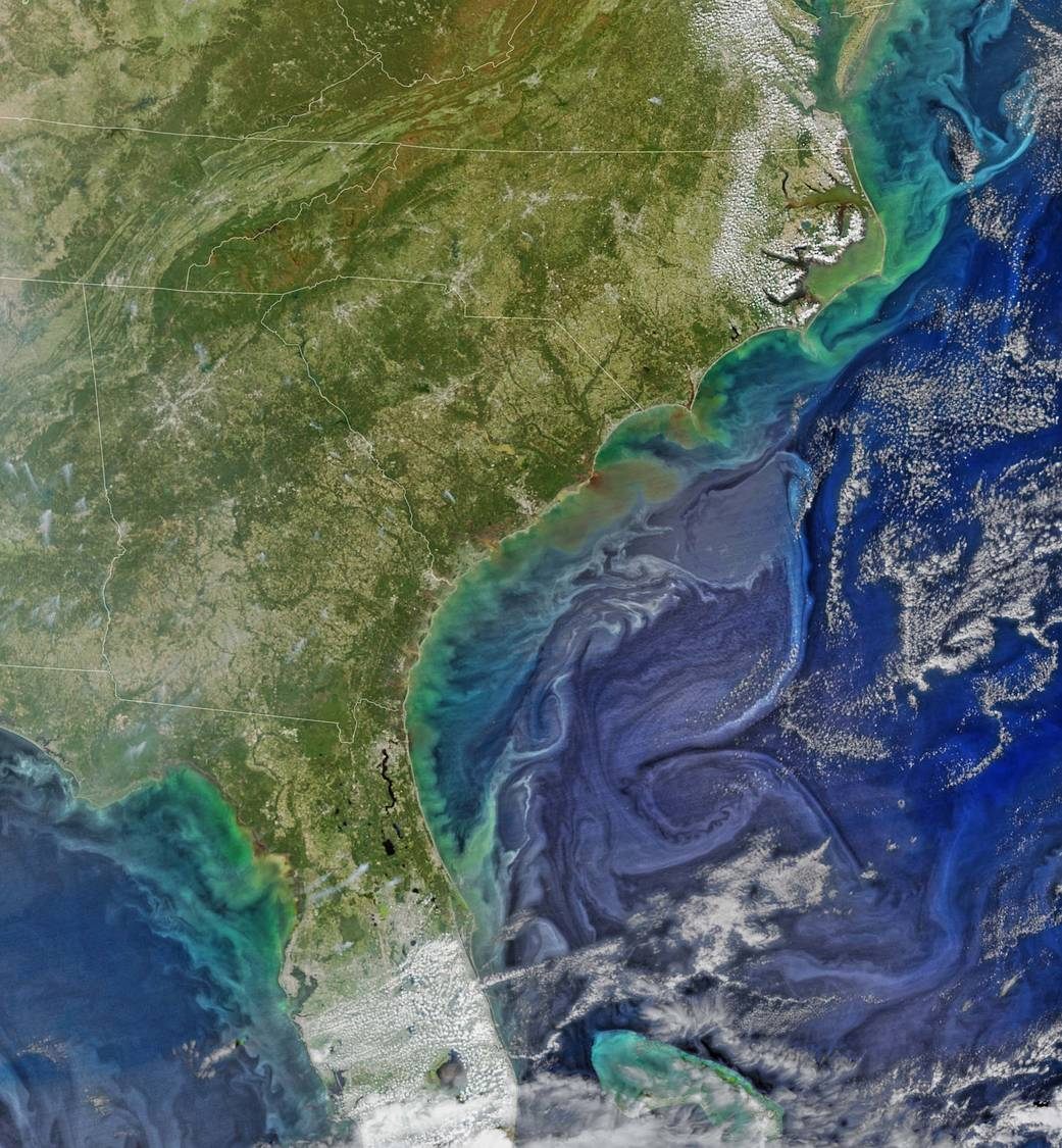 Color image of southeast United States from satellite showing sediment runoff in ocean