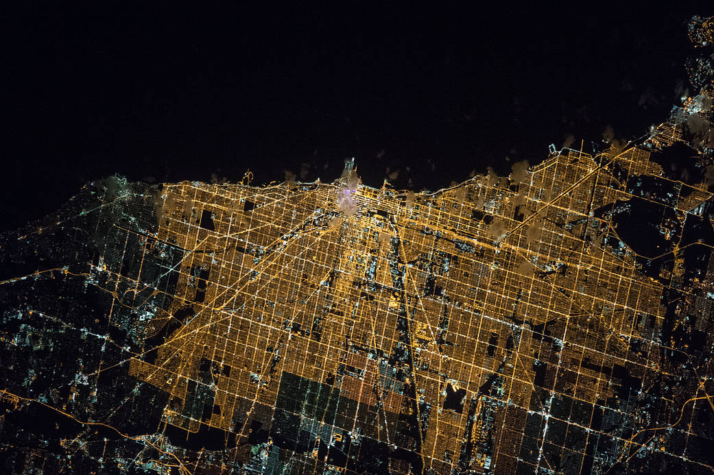 Nighttime lights of city of Chicago photographed from low Earth orbit