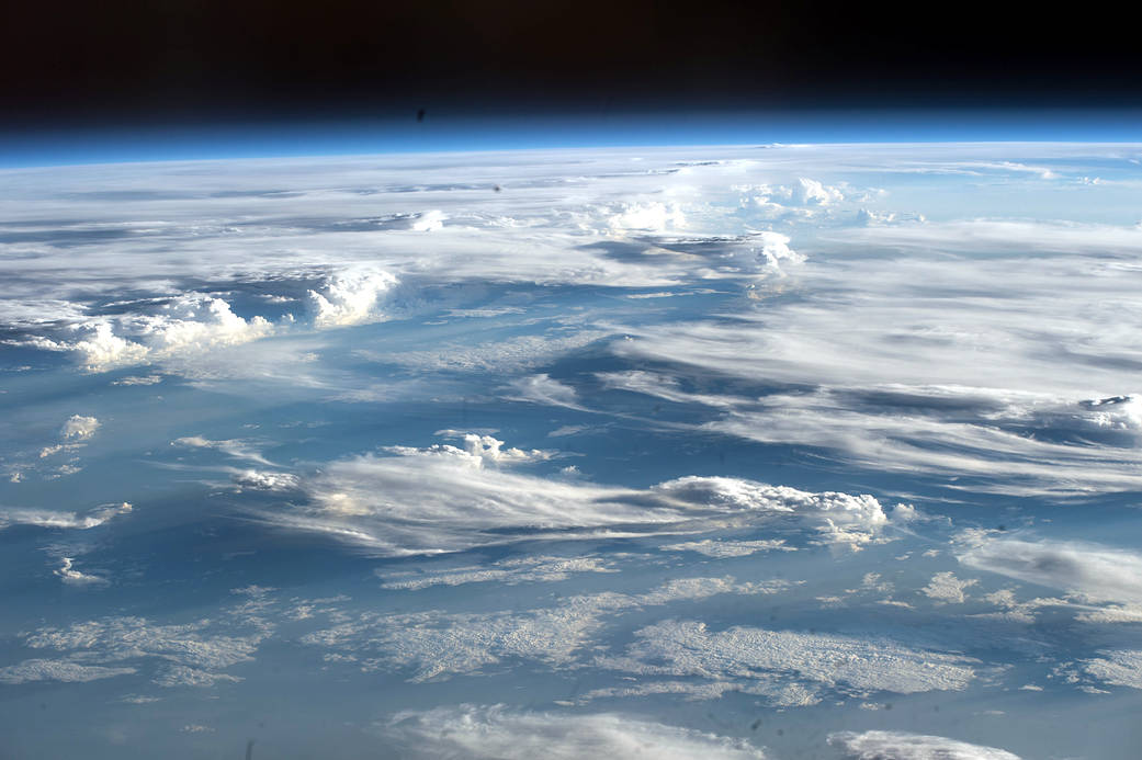 cloud formations viewed from low Earth orbit
