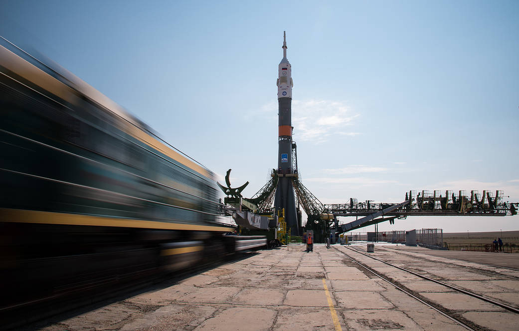 The Soyuz MS-01 spacecraft is raised vertical after it was rolled out by train to the launch pad at the Baikonur Cosmodrome, Kaz